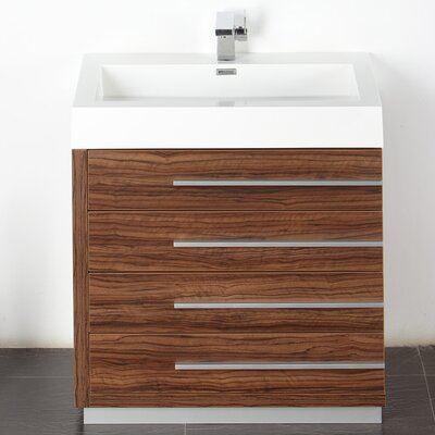 Senza 30 Single Livello Modern Bathroom Vanity Set Base Finish: Walnut