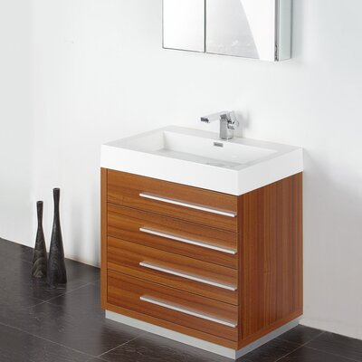 Senza 30 Single Livello Modern Bathroom Vanity Set Base Finish: Teak