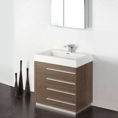 Senza 30 Single Livello Modern Bathroom Vanity Set Base Finish: Gray Oak