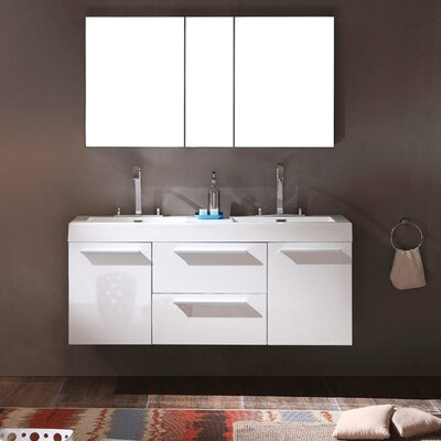 Senza Opulento 54 Double Bathroom Vanity Set with Mirror Base Finish: White