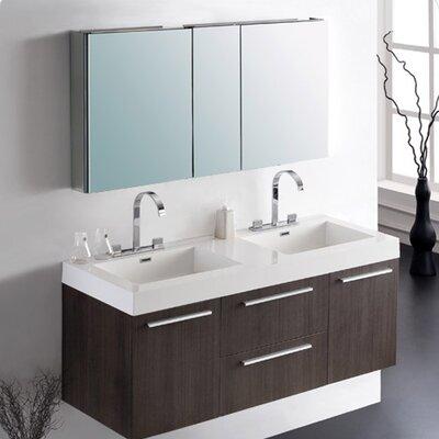 Senza Opulento 54 Double Bathroom Vanity Set with Mirror Base Finish: Gray Oak