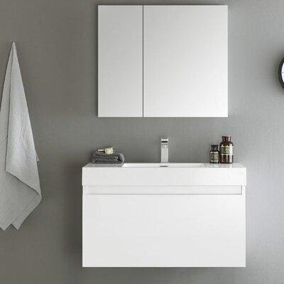 Senza 36 Mezzo Single Wall Mounted Modern Bathroom Vanity Set with Mirror Base Finish: White