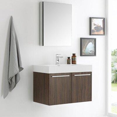 Senza 30 Vista Single Wall Mounted Modern Bathroom Vanity Set with Mirror Base Finish: Walnut