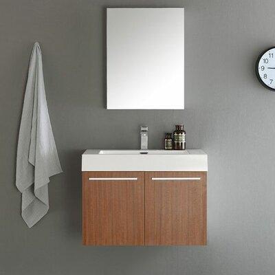 Senza 30 Vista Single Wall Mounted Modern Bathroom Vanity Set with Mirror Base Finish: Teak