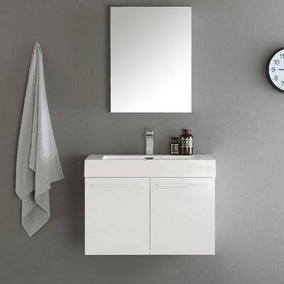 Senza 30 Vista Single Wall Mounted Modern Bathroom Vanity Set with Mirror Base Finish: White