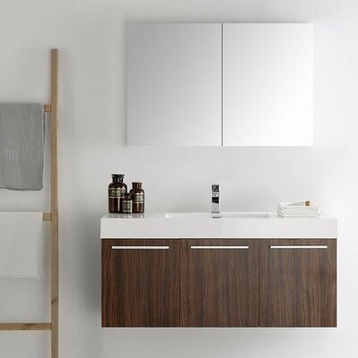 Senza 48 Vista Single Wall Mounted Modern Bathroom Vanity Set with Mirror Base Finish: Walnut