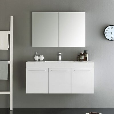 Senza 48 Vista Single Wall Mounted Modern Bathroom Vanity Set with Mirror Base Finish: White