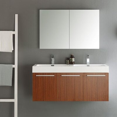 Senza 48 Vista Double Wall Mounted Modern Bathroom Vanity Set with Mirror Base Finish: Teak
