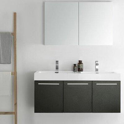 Senza 48 Vista Double Wall Mounted Modern Bathroom Vanity Set with Mirror Base Finish: Black