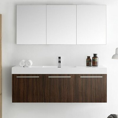 Senza 60 Vista Single Wall Mounted Modern Bathroom Vanity Set with Mirror Base Finish: Walnut