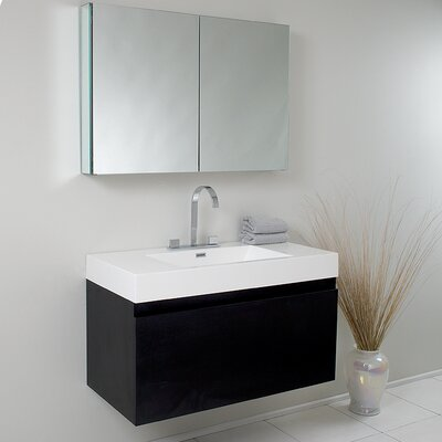 Senza Mezzo Modern 39 Single Bathroom Vanity Set with Mirror Base Finish: Black