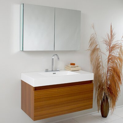 Senza Mezzo Modern 39 Single Bathroom Vanity Set with Mirror Base Finish: Teak