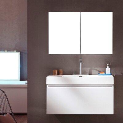 Senza Mezzo Modern 39 Single Bathroom Vanity Set with Mirror Base Finish: White