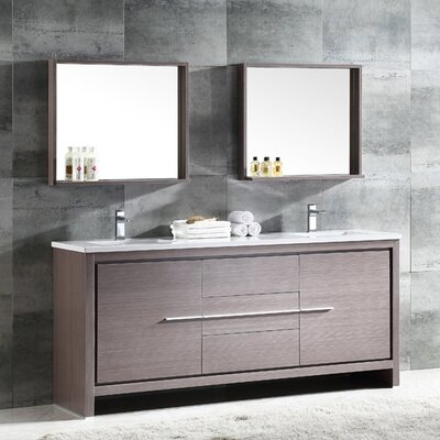 Trieste Allier 72 Double Bathroom Vanity Set with Mirror Base Finish: Gray Oak