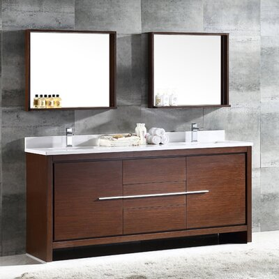 Trieste Allier 72 Double Bathroom Vanity Set with Mirror Base Finish: Wenge Brown