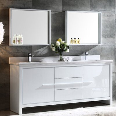 Trieste Allier 72 Double Bathroom Vanity Set with Mirror Base Finish: White