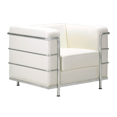 Frye Leather Armchair Color: White