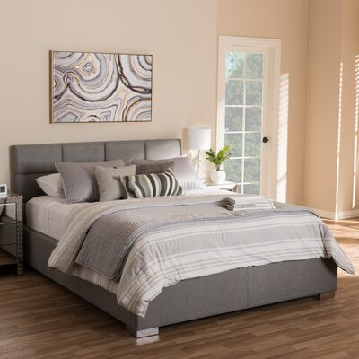 Eden Upholstered Platform Bed Size: Queen, Color: Grey