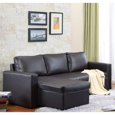Nahla Reversible Sleeper Sectional Upholstery: Brown