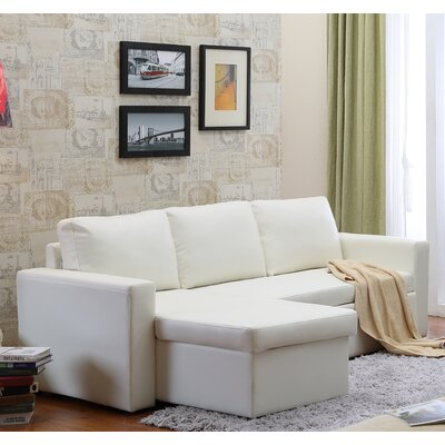 Nahla Reversible Sectional Upholstery: White