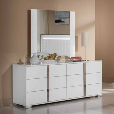 Marley 6 Drawer Double Dresser Finish: White