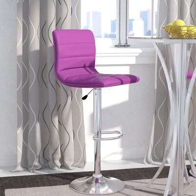 Clay Adjustable Height Swivel Bar Stool Upholstery: Purple