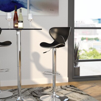 Marlon Adjustable Height Swivel Bar Stool Upholstery: Black