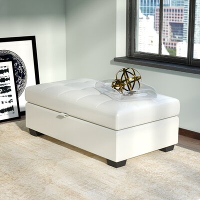 Olive Leather Ottoman Upholstery: White
