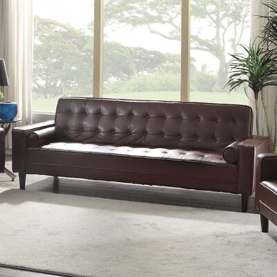 Navi Faux Leather Sleeper Sofa Upholstery: Brown