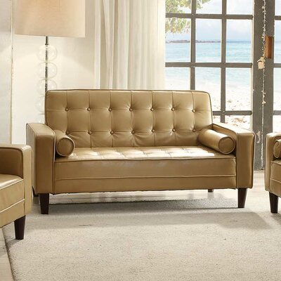 Laurence Faux Leather Sleeper Sofa Upholstery: Tan