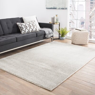 Brigette Cloud Dancer/Charcoal Gray Area Rug Rug Size: 53 x 76