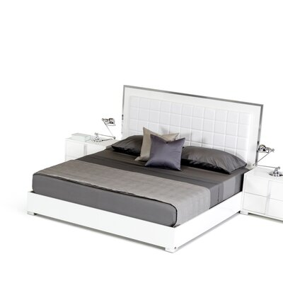 Upholstered Steel Framed Panel Bed Size: Queen, Finish: White