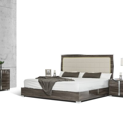 Upholstered Steel Framed Panel Bed Finish: Gray, Size: Eastern King