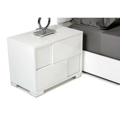 Camron Contemporary 2 Drawer Wood Top Nightstand Color: White, Orientation: Left Facing