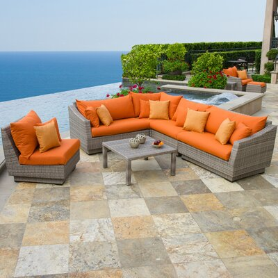 Alfonso Corner 6 Piece Sectional Seating Group with Cushions Fabric: Tikka Orange