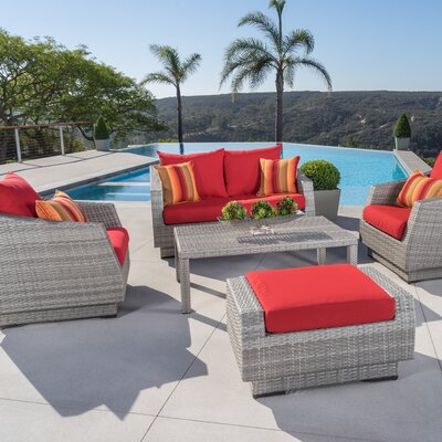 Alfonso 5 Piece Deep Seating Group with Cushion Fabric: Sunset Red