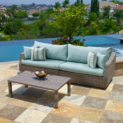 Alfonso 2 Piece Deep Seating Group with Cushion Fabric: Bliss Blue