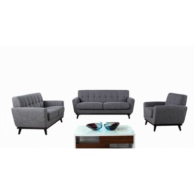 Athens 3 Piece Living Room Set Upholstery: Gray