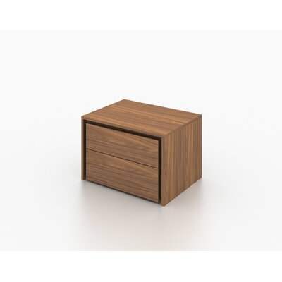 Austral 2 Drawer Nightstand (Set of 2) Finish: Walnut