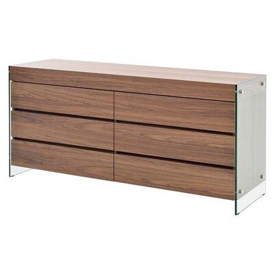 Lamarr 6 Drawer Dresser Color: Walnut Veneer