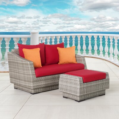 Alfonso Loveseat and Ottoman with Cushions Fabric: Sunset Red