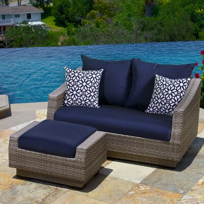 Alfonso Loveseat and Ottoman with Cushions Fabric: Navy