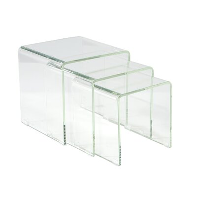 Cherrelle 3 Piece Nesting Table Set Color: White Glass