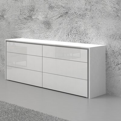 Austral 6 Drawer Dresser Color: White High Gloss