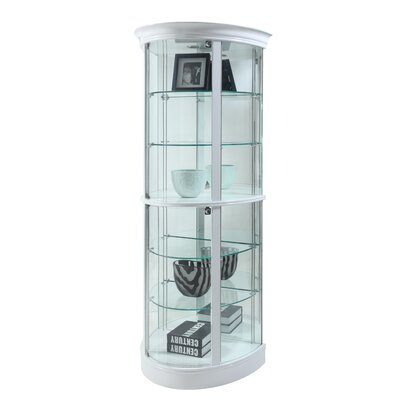 Mihaela Semi Circle Tempered Glass-Shelf Curio Cabinet