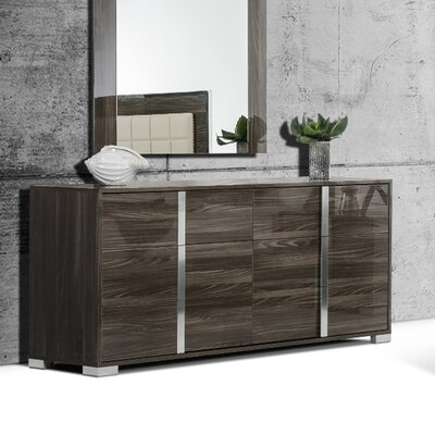 Modern 6 Drawer Double Dresser Color: Gray