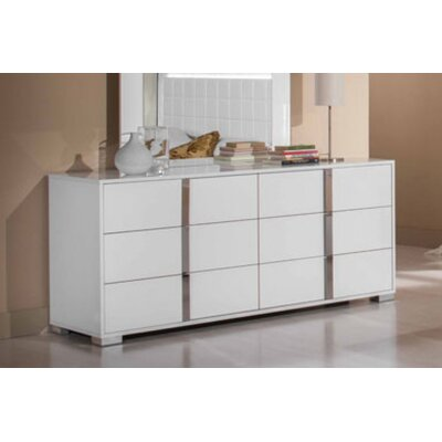 Modern 6 Drawer Double Dresser Color: White