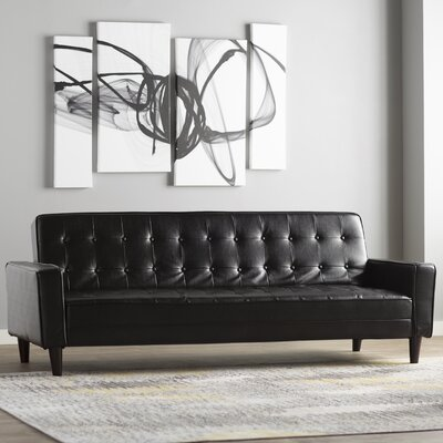 Laurence Faux Leather Sleeper Sofa Upholstery: Black