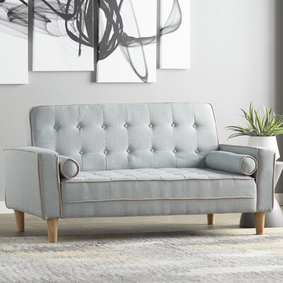 Navi Twill Loveseat Upholstery: Light Blue