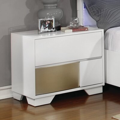 Dawna Wood Nightstand Color: White